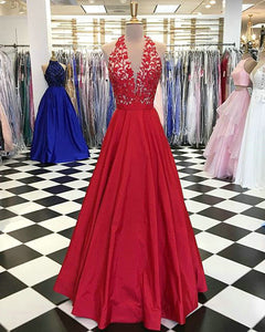Elegant Halter Red Satin Prom Dresses with Lace Long Party Gowns 2018