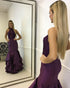 Sexy Mermaid Prom Dresses with Halter 2018 Dark Purple Lace Satin Prom Party Gowns New