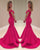 2018 Hot Pink Mermaid Prom Dresses with V-Neckline Modest Spandex Homecoming Dress New
