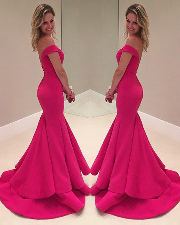 7145b8dcfac 2018 Hot Pink Mermaid Prom Dresses with V-Neckline Modest Spandex  Homecoming Dress New
