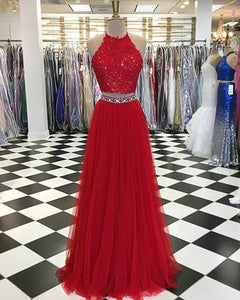 red-prom-dresses two-piece-prom-dresses lace-tulle-prom-gowns long-prom-dress lace-prom-dresses Long-prom-gowns
