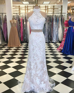 Sexy White Lace Mermaid Evening Dresses Formal Two Pieces Evening Prom Party Gowns