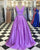Light Purple Two Piece Prom Dresses with V Neckline 2018 Elegant Prom Gowns with Beadings