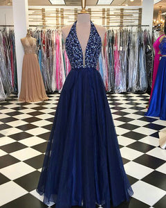 Navy Blue Elastic Satin Prom Dresses with Sequins Beaded 2018 Elegant Prom Gowns Halter