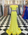 Simple Yellow Two Piece Prom Dresses Off The Shoulder Spandex Mermaid Prom Party Gowns 2018 New
