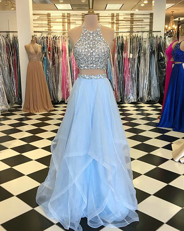 77969c9a9d3 Light Blue Prom Dresses with Pearls Beaded Rhinestones Tulle Ruffles Two  Piece Prom Dress New Arrival