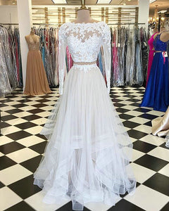Light Champagne Lace Tulle Prom Dresses with Full Sleeve 2018 Two ...