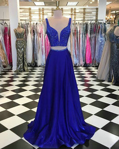 Royal Blue Two Piece Prom Dresses with V Neckline 2018 Sexy Prom Gowns with Beadings