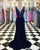 Navy Blue Mermaid Prom Dresses with V Neckline Beaded New 2018 Prom Gowns Split Side