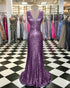 Shinny Light Purple Prom Dresses Sequined Deep V Neckline Mermaid Prom Dress 2018 Fashion