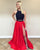 prom-dresses-black-red lace-satin-prom-dress two-piece-prom-dresses prom-dresses-black-lace prom-dresses-red-satin prom-dresses-slit prom-dresses-2018 prom-dresses-fashion prom-gowns-elegant sexy-prom-dresses