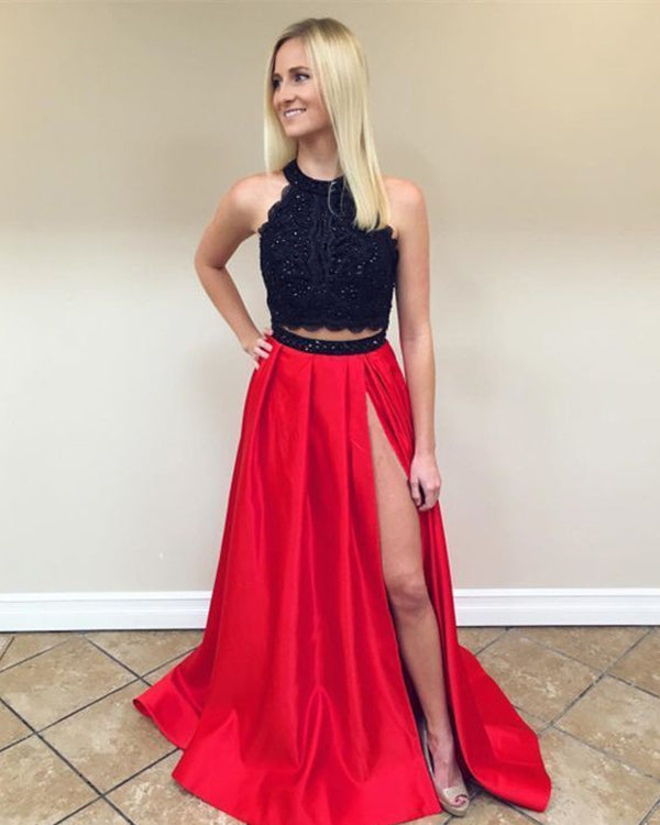 d4ac5e50a8f Fashion 2018 Two Piece Prom Dresses Black Lace Red Satin Long Prom Gowns  with Split Side