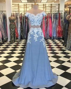 Light Blue Lace Prom Dresses with Cap Sleeve 2018 Two Piece Prom Party Gowns Appliques