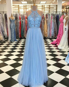 Delicate Light Sky Blue  Prom Dresses with Halter Beaded Tulle Ruffles Long Prom Gowns 2018 New