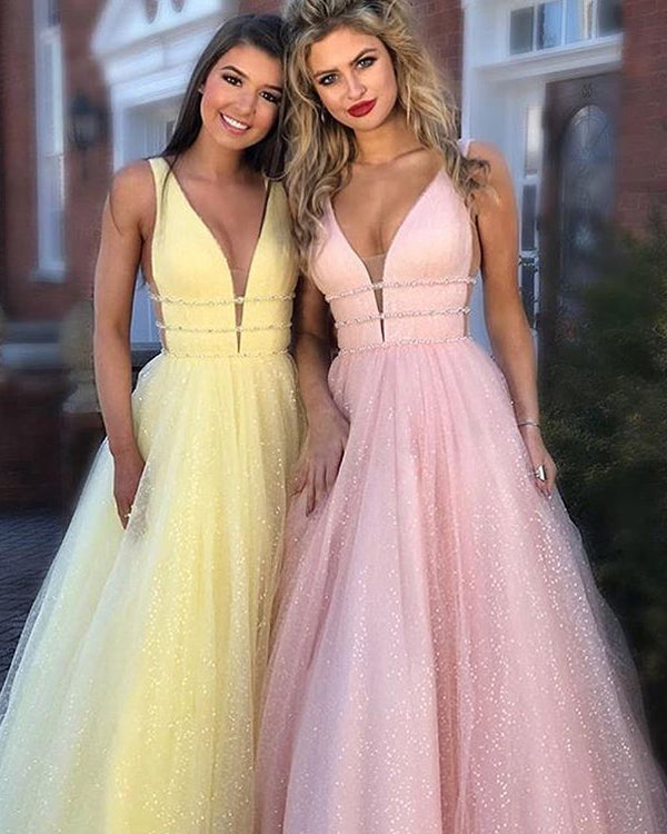 e0966214866 Sparkly V-Neck Prom Dresses with Crystal Organza Ruffles Long Party Gowns  New Arrival 2018