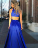 Fashion 2018 Royal Blue Prom Dresses with Pocket O-Neck Long Prom Party Gowns Split Side