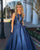 Modest 2018 A line Prom Dresses with Scoop Fashion Navy Blue Satin Prom Dress Floor Length