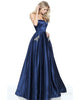 Sexy Strapless Prom Dresses with Pocket Fashion 2018 Navy Blue Satin Prom Dress Party Gowns