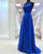 Royal Blue Elastic Satin Prom Dresses with Spaghetti Straps Sexy Long Prom Gowns for Party 2018 Fashion