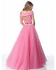 Off The Shoulder Tulle Prom Dresses with Pearls Fashion 2018 Two Piece Prom Dress Party Gowns