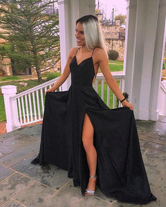 Sexy Black Satin Prom Dress Criss-Cross Straps Sexy Split Side Long Prom Pageant Party Gowns 2018