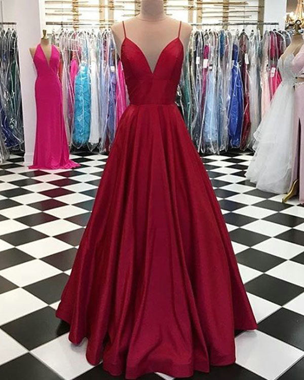 da9c6ea861 Fashion 2018 Spaghetti Straps Prom Dresses with V-Neck A line Long ...