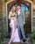 Beautiful Pink Satin Mermaid Prom Dresses with Sheer Long Lace Sleeve Sexy Prom Party Gowns Open Back