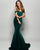 Dark Green Velvet Mermaid Prom Dresses 2018 Off The Shoulder Sexy Long Prom Gowns for Party