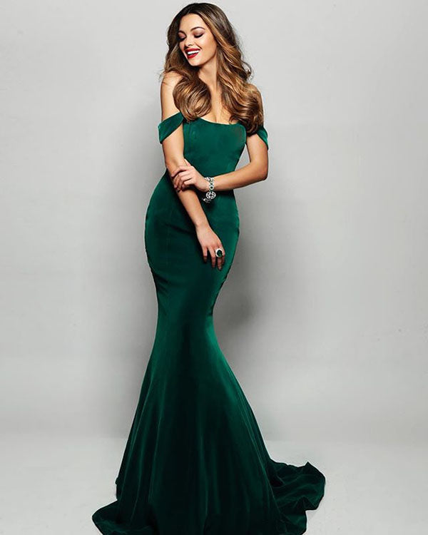 5e3de58d2d7 Dark Green Velvet Mermaid Prom Dresses 2018 Off The Shoulder Sexy Long Prom  Gowns for Party