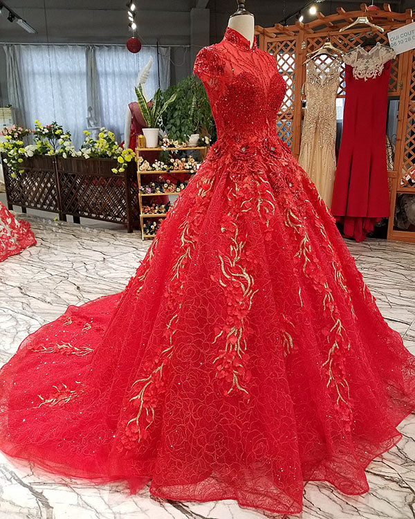 0f36c05f9a6 2018 Red Lace Ball Gown Wedding Dresses with High Neck Gorgeous Wedding  Gowns with Beadings