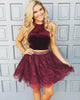 Popular Real Burgundy Lace Two Pieces Homecoming Dresses Short Prom Gowns