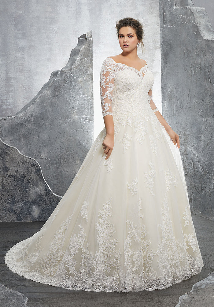 A Line Lace Wedding Dresses With 34 Sleeve Elegant Lace Bridal