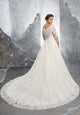 A-line Lace Wedding Dresses with 3/4 Sleeve Elegant Lace Bridal Gowns