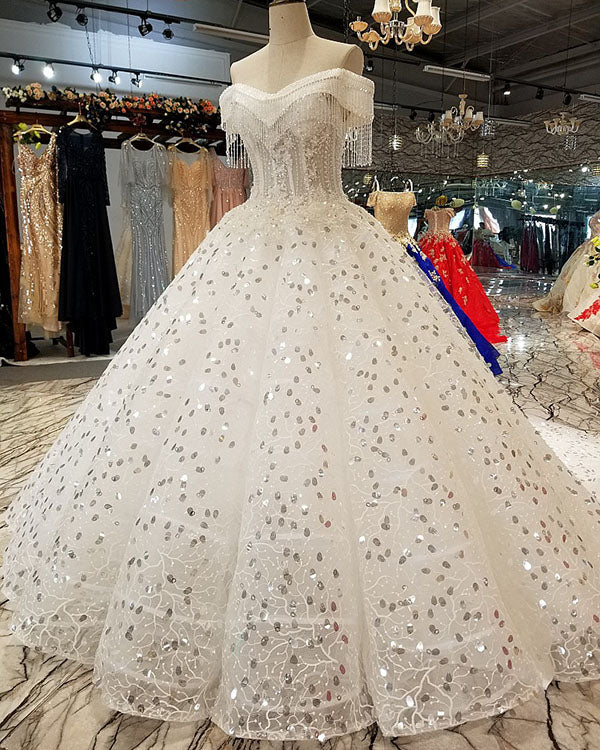 2018 off the shoulder ball gown wedding dresses with tassel sparkly 2018 off the shoulder ball gown wedding dresses with tassel sparkly wedding gowns for brides junglespirit Image collections