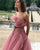 Delicate Strapless Blush Pink Tulle Prom Dresses with Ruffles 2018 Long Prom Gowns with Belt