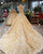 Champagne Gold Ball Gown Wedding Dresses with High Neck 2018 Bridal Gowns with Flowers