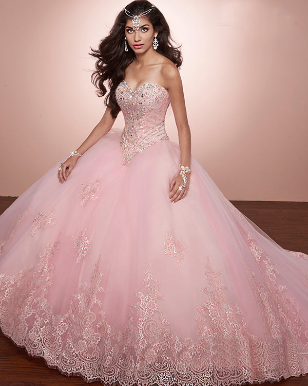 416286240f9 Pink Lace Quinceanera Dresses Beaded Sparkly Sweetheart Puffy Ball Gown  vestidos de quinceañera