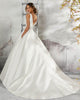 Delicate 2018 Lace Wedding Dresses V-Neck Satin Ball Gown Simple Bridal Wedding Gowns with Buttons