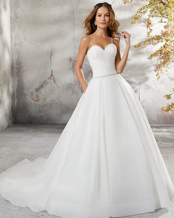 Sexy 2018 Wedding Dresses Spaghetti Straps Organza Ball Gown Simple