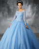 2018 Sky Blue Tulle Quinceanera Dresses with Full Sleeve Beaded Lace Puffy Ball Gown vestidos de quinceañera