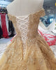 Off The Shoulder Ball Gown Wedding Dresses with Cap Sleeves 2018 Gold Lace Bridal Gowns Beadings