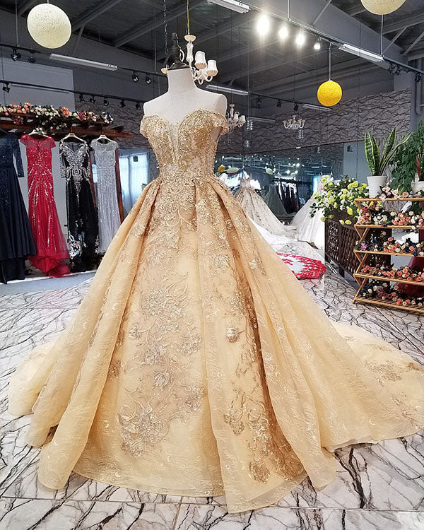 Off The Shoulder Ball Gown Wedding Dresses With Cap Sleeves 2018