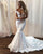 Sexy Mermaid Lace Wedding Dress Deep V-Neck Cap Sleeve Sheer Back Beach Bridal Gown Long Train
