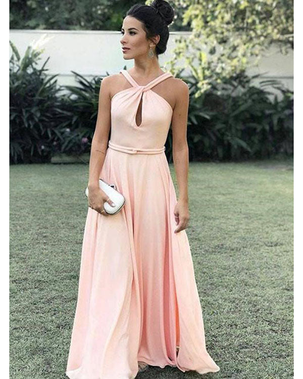 60337c743a7 Simple Coral Prom Dresses with Halter Neckline 2018 Sexy A-line Prom Gowns  Long