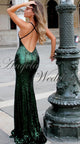 Dark Green Sequined Prom Dresses Mermaid Long Backless