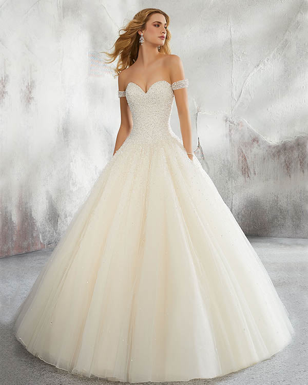 Princess 2018 Tulle Wedding Dresses Cap Sleeves Beaded Sparkly Ball