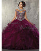 New Arrival 2018 Grape Tulle Quinceanera Dresses Ball Gown Tulle Ruffles Cap Sleeves