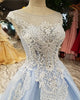 Light Sky Blue Prom Dresses 2018 Sheer Scoop Prom Party Gowns with Sequins Beadings
