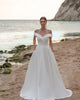 Off The Shoulder Satin Wedding Dresses V-Neck Sexy A-line Silhouette Bridal Gowns for Wedding
