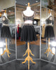 Gorgeous Two Piece Short Homecoming Dresses Gold Beadings Black Chiffon A line Party Gowns